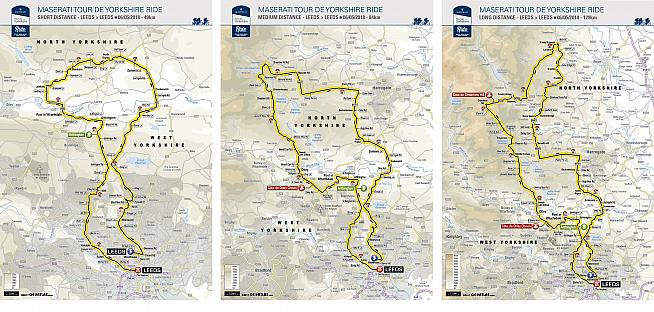 Tour de Yorkshire riders can choose from a choice of three distances starting and finishing in Leeds.