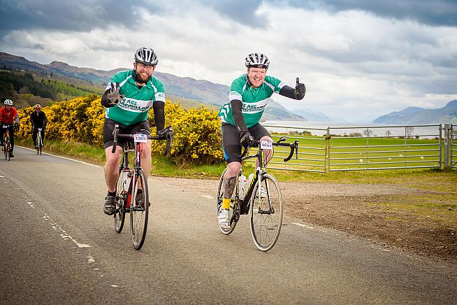 Macmillan riders at Etape Loch Ness 2017. Photo: Tim WInterburn