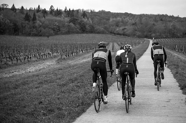 All four riders are wearing the Coldharbour tights with roubaix fabric and reflective trim.