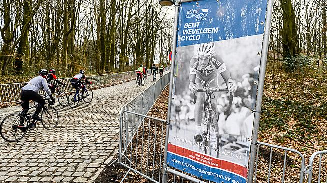 The cobbled Kemmelberg is Gent-Wevelgem's signature climb. Credit: Etixx Classics Tour