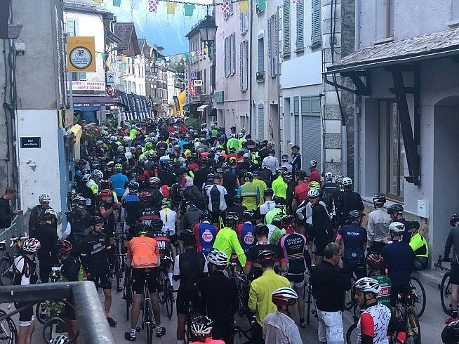2d3e7d5d4 Riders crammed into the streets of Bourg d Oisans for the start of the 2018