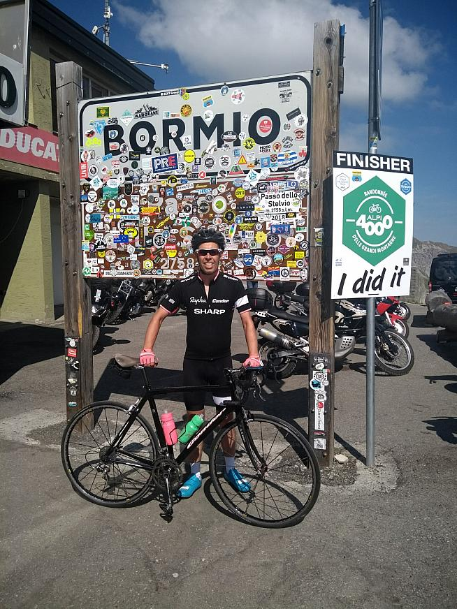 Joe at the top of the Stelvio - can you spot the Hide My Bell?