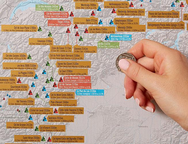 This scratch off map of Alpine climbs is an ideal gift for mountain-loving cyclists.