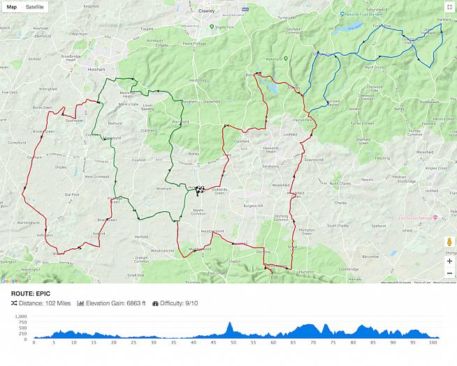 The Epic course for the new Orro Sussex Downs Classic.