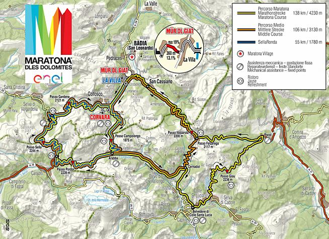 Choose from three distances in the beautiful Dolomite mountains.
