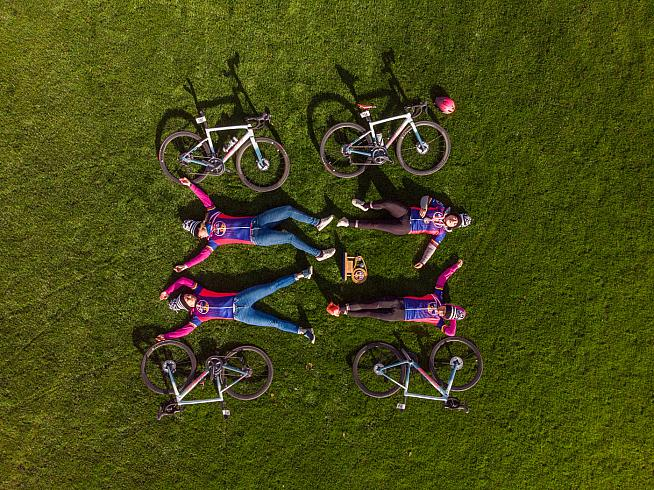 Specialized Women celebrate their win with a lie down. Photo: Leo Francis / Red Bull
