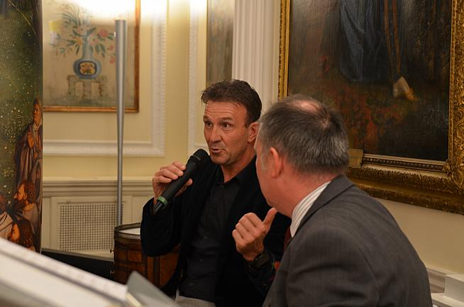 Johan Museeuw speaking at the Belgian Embassy in London