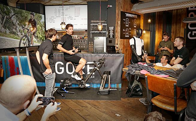 Cancellara demonstrating the shorts at a launch event.