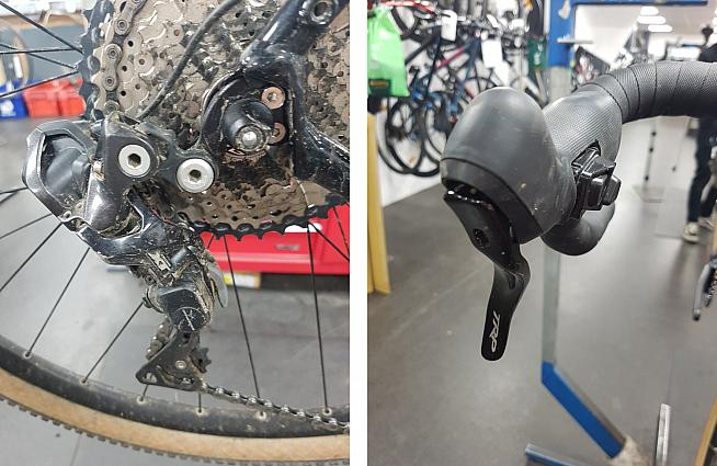 Shimano's XT electric shifting performs even in filthy conditions.