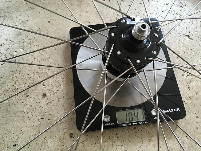 SJS Cycles built the SONdelux hub with an Ambrosio rim to match my existing wheelset.