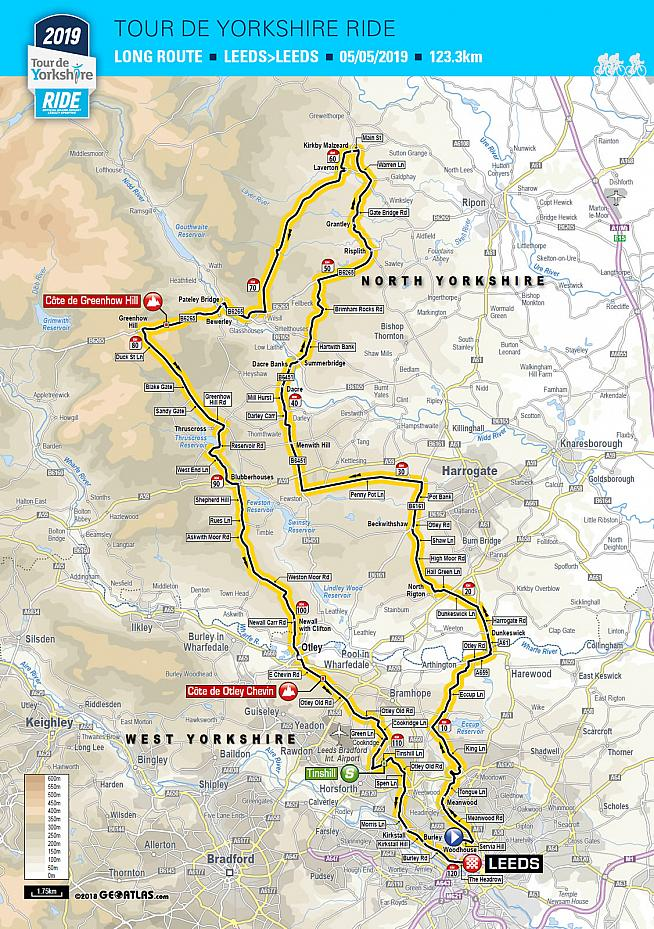 Route map for the 2019 Tour de Yorkshire Ride. Two shorter routes are also on offer.