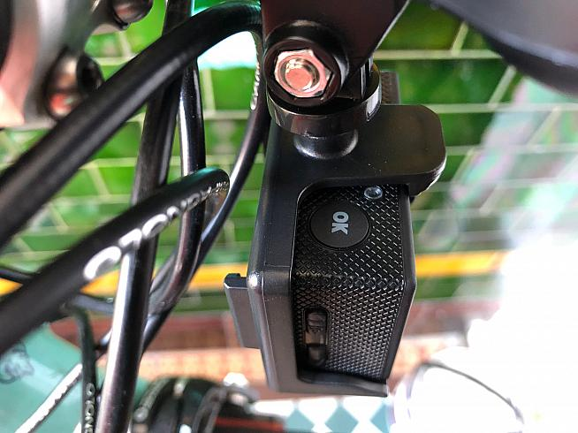 The record button is easy to reach while riding - even with camera mounted under the stem.