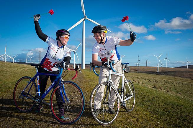 Fran Tierney and Stuart Naylor at Crystal Rig Wind Farm near Dunbar.