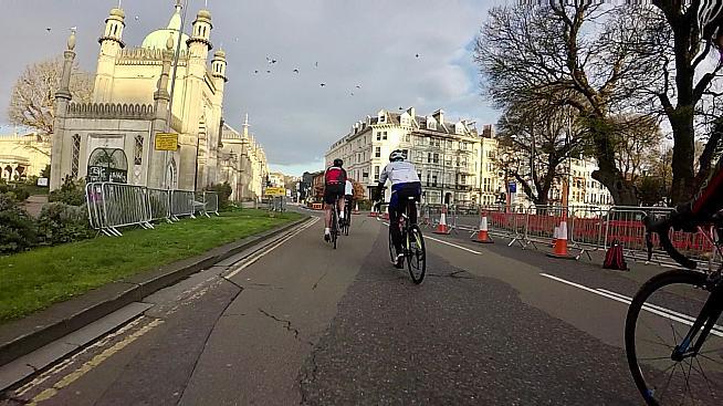 Less pavé more Pavilion... riders pass the Brighton landmark.