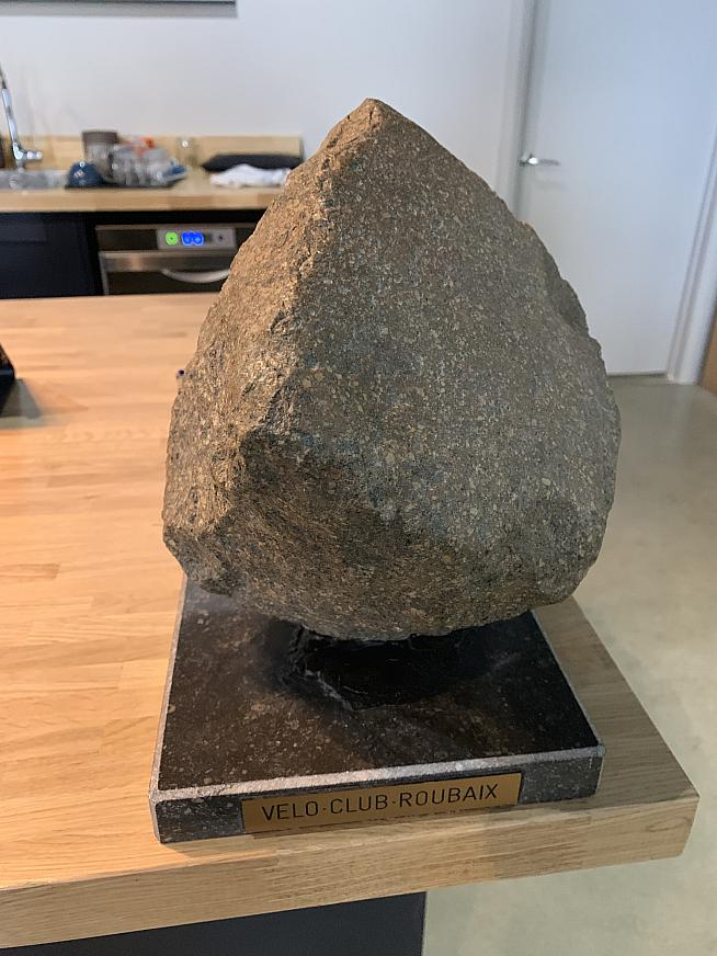 The Paris Roubaix trophy is a cobblestone from the famous course