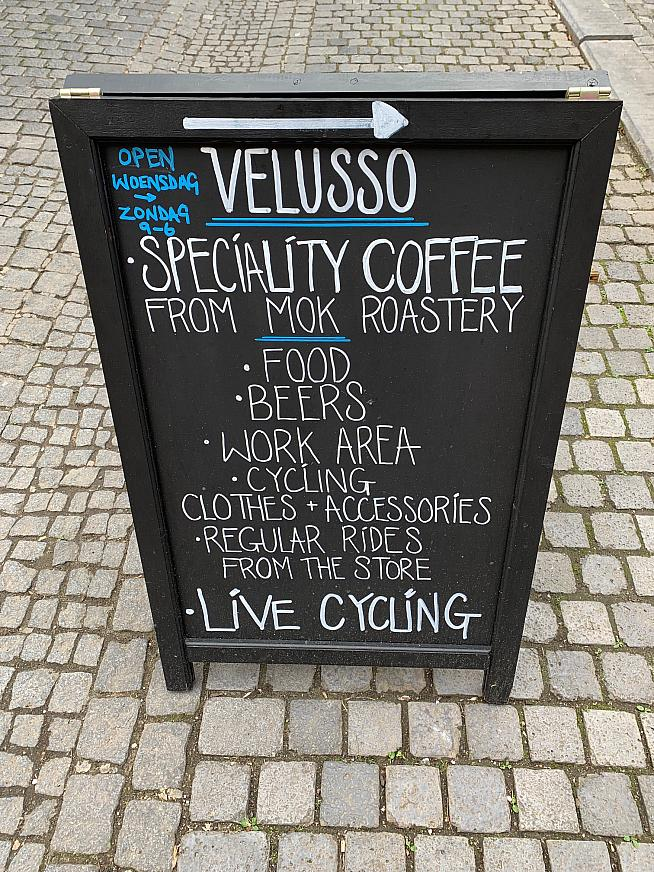 Best coffee in Bruges...and cycling on the TV