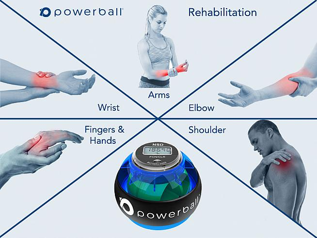 Powerball is a fist-sized training tool that uses gyroscopic resistance to build strength.