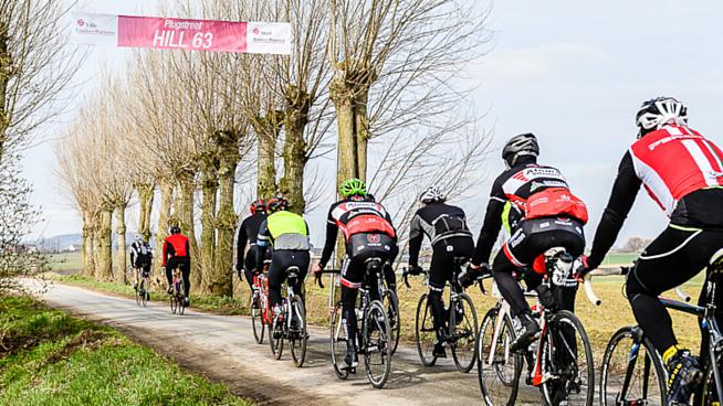 Riders pass through the iconic Menin Gate memorial and Plugstreet on the Gent-Wevelgem sportive
