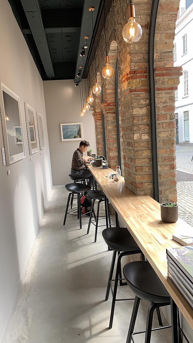 A quiet side area for working and watching the world go by