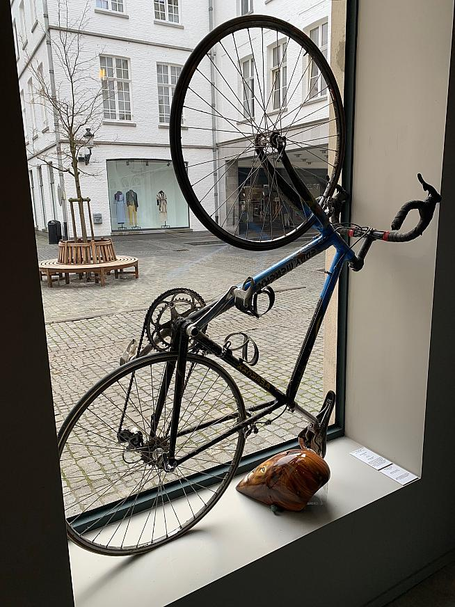 Johan Museeuw is a big supporter of Velusso and his bikes and helmets are on display