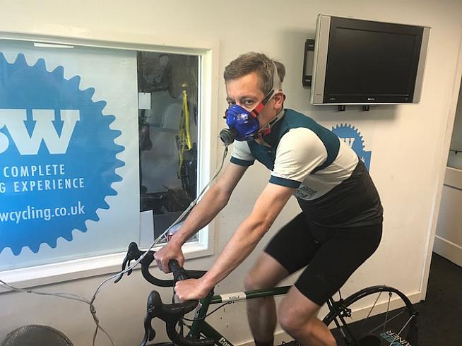 JSS looking slightly suspicious about having his VO2 max levels tested.