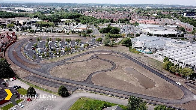 An aerial view of the site of the new track behind Doncaster Dome.