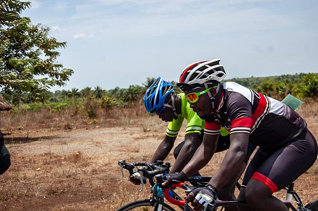 Riders competing in the Tour de Lunsar - Sierra Leone's premier domestic race.