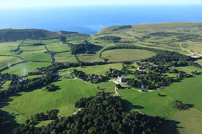 Lulworth Castle provides a spectacular start point for exploring the off-road trails of the Dorset coast.