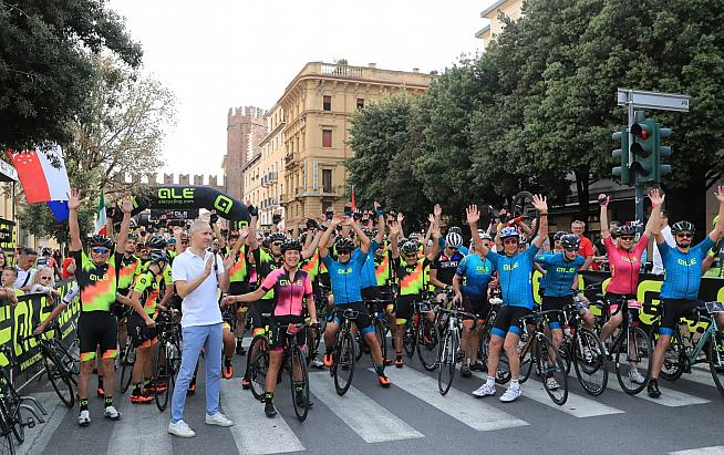 Riders mass for the start of the 2019 Granfondo Alé La Merckx in Verona.