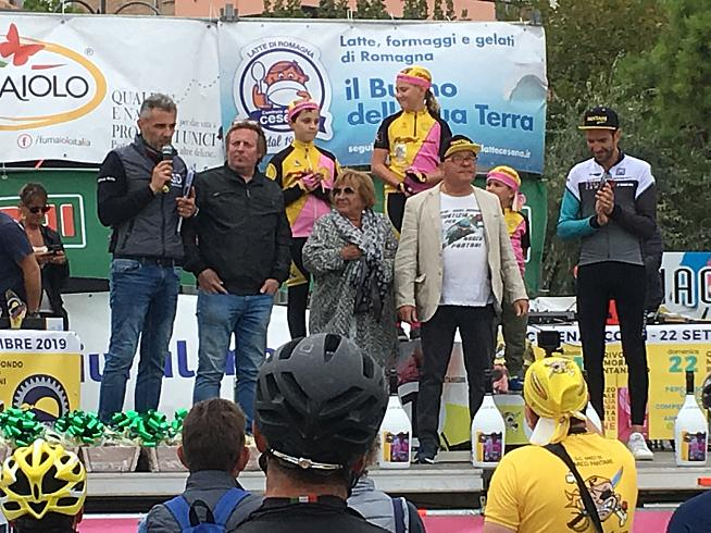 Marco Pantani's mum centre stage at the finish.