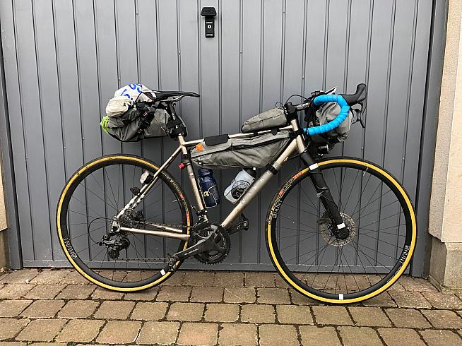 1100 miles in - the CGR Ti in tour mode at the end of the Trans Alba Race.