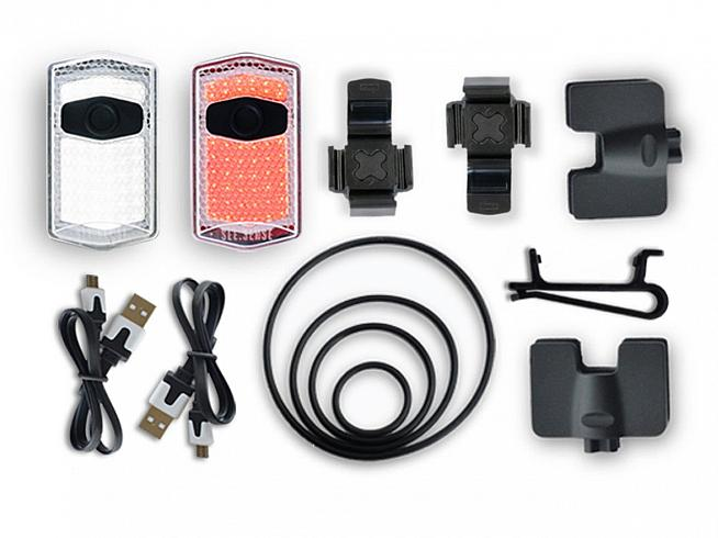 The ACE set comes wit two lights along with various mounts and charger cables.