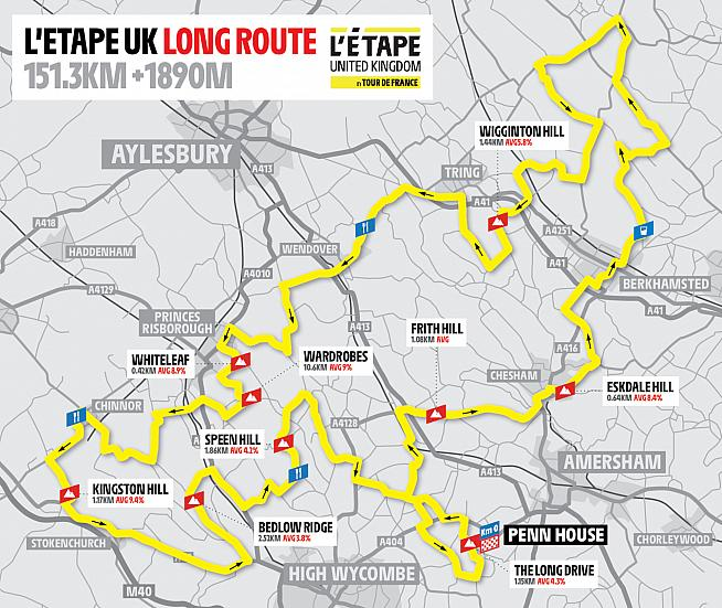The long route for this year's L'Etape UK takes riders through the Chiltern Hills.