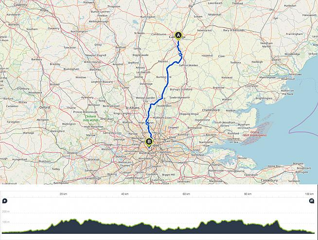 The 100km route starts at Royal Papworth hospital in Cambridge and finishes at the Royal Brompton in London.