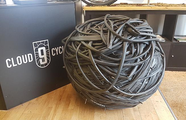 A ball of inner tubes ready for recycling at Cloud 9 Cycles.