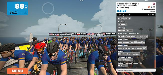 Ready for the start of the first virtual Etape du Tour.
