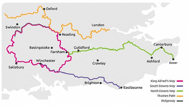 King Alfred's Way links to other long distance cycling trails in the south of England.