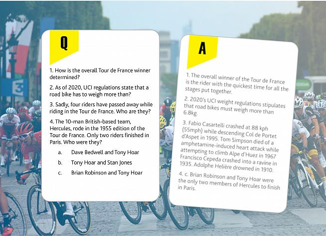 The questions tackle a wide range of cycling trivia pitched at cycling fans new and old.