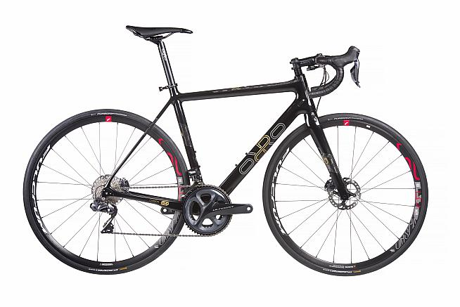 The Gold STC Disc is Orro's flagship endurance bike. Dave rides the Ultegra Di2 model with hydraulic disc braking.