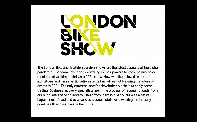 London Bike Show is 'the latest casualty of the global pandemic.'