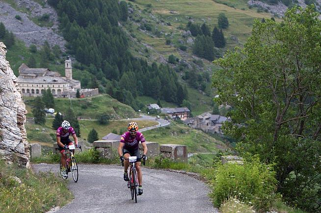 The climb to Fauniera with sanctuary behind - a highlight of the Granfondo la Fausto Coppi.
