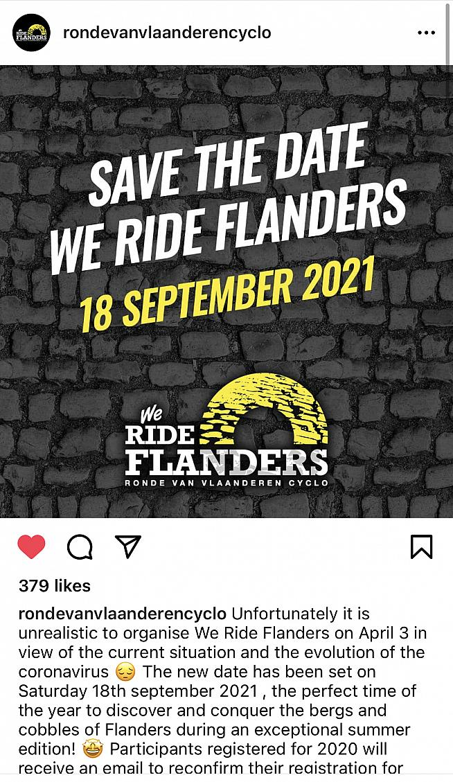 This year's Tour of Flanders sportive has been moved to September.