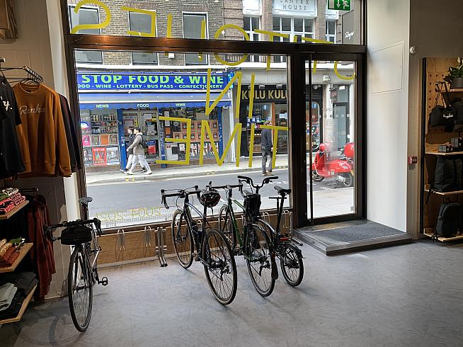 The parking area has doubled...and no need to hang bikes up