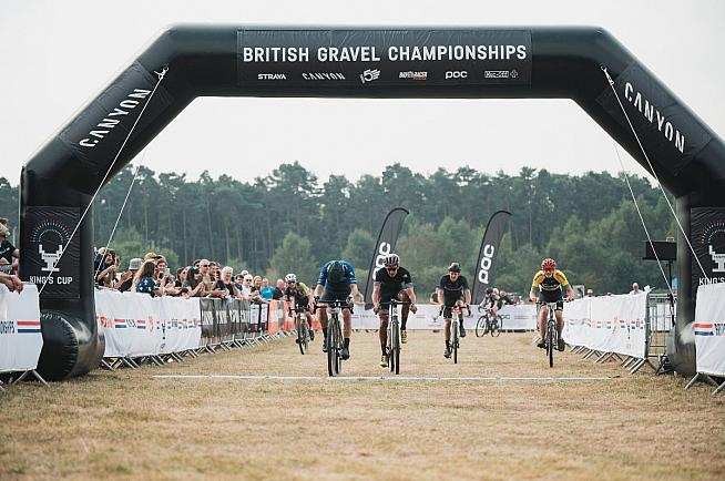 Pete photobombs the finish at the King's Cup Gravel Championships. Photo: Rupert Fowler